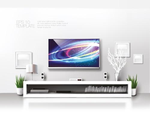 House interior corner background vectors set 18