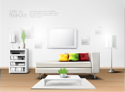 House interior corner background vectors set 16