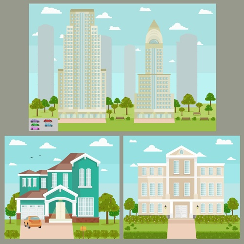 Houses concept flat template vector 08