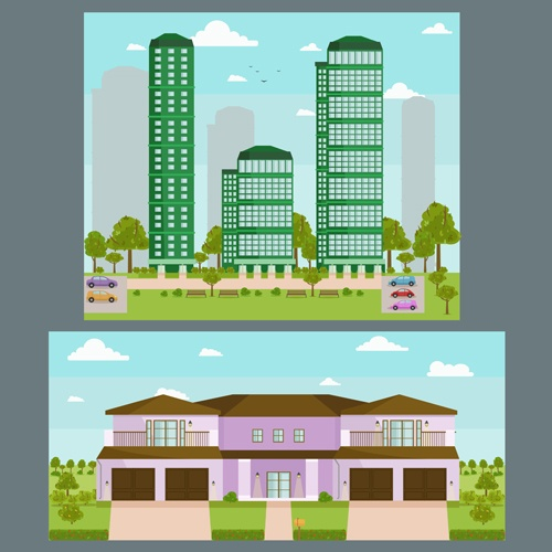 Houses concept flat template vector 07