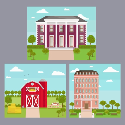 Houses concept flat template vector 05