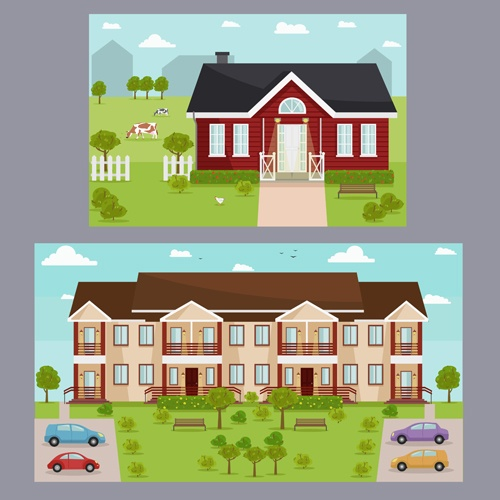 Houses concept flat template vector 04
