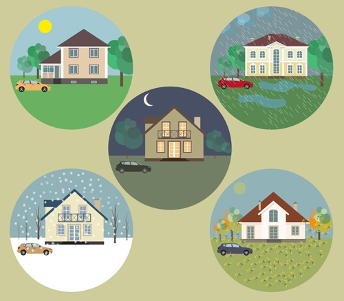 Houses concept flat template vector 03