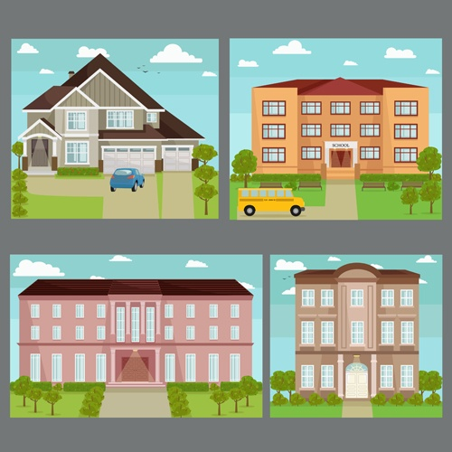 Houses concept flat template vector 02