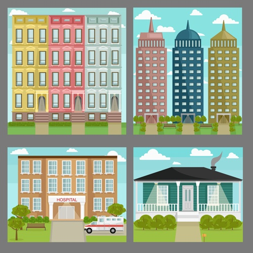 Houses concept flat template vector 01