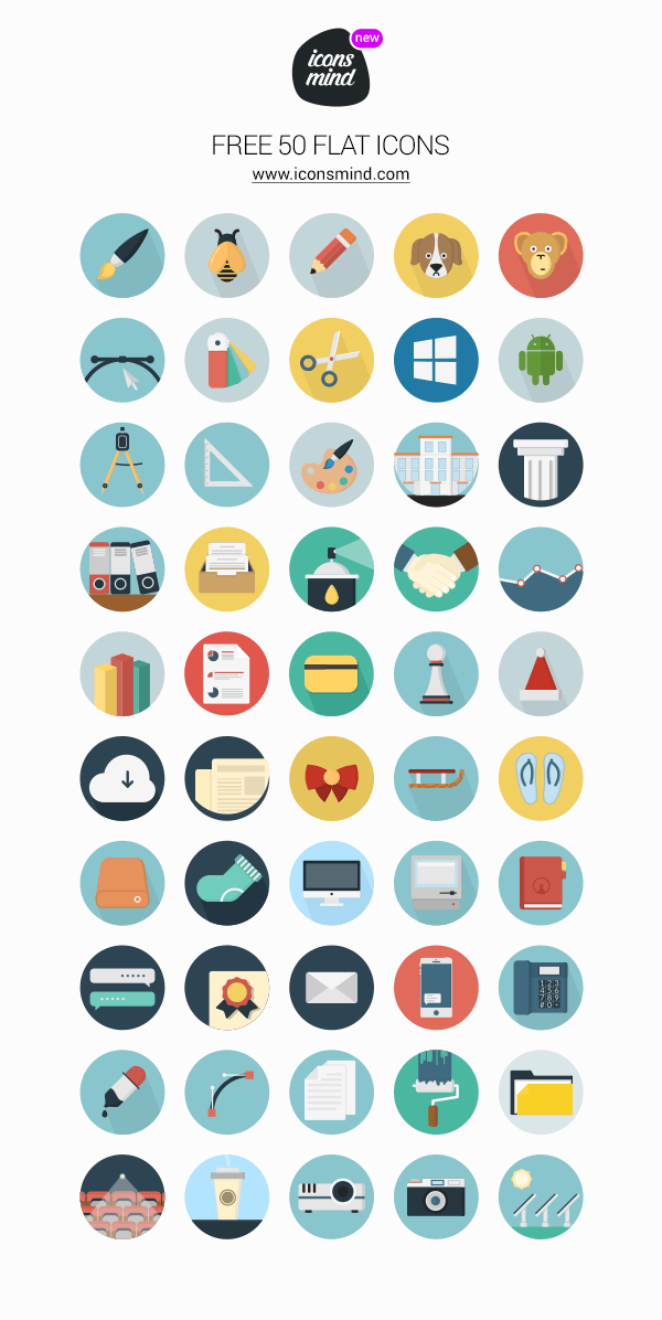 Icons Mind: 50 Flat Icons | GraphicBurger