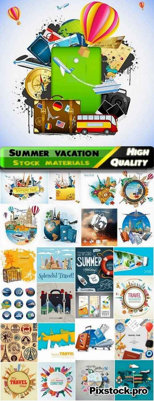 Illustration with summer vacation and travel – 25 Eps