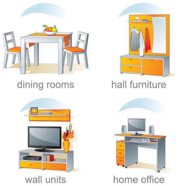 indoor furniture vector