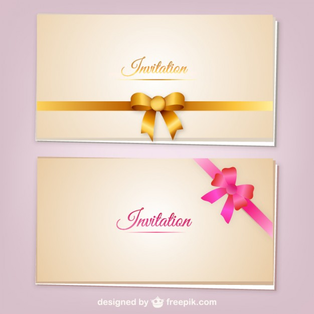 Invitation cards with ribbons vector