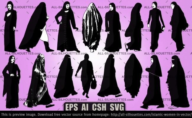 Islamic women in vector