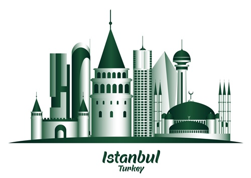 Istanbul famous buildings vector