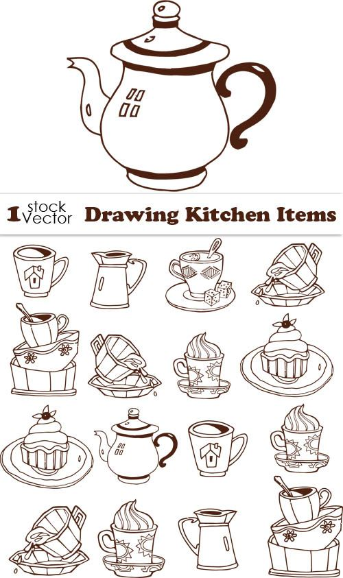 Kitchen tableware Drawing Vector