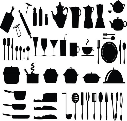 Kitchen utensils Vector Silhouettes