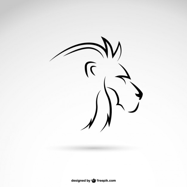 Lion line art profile