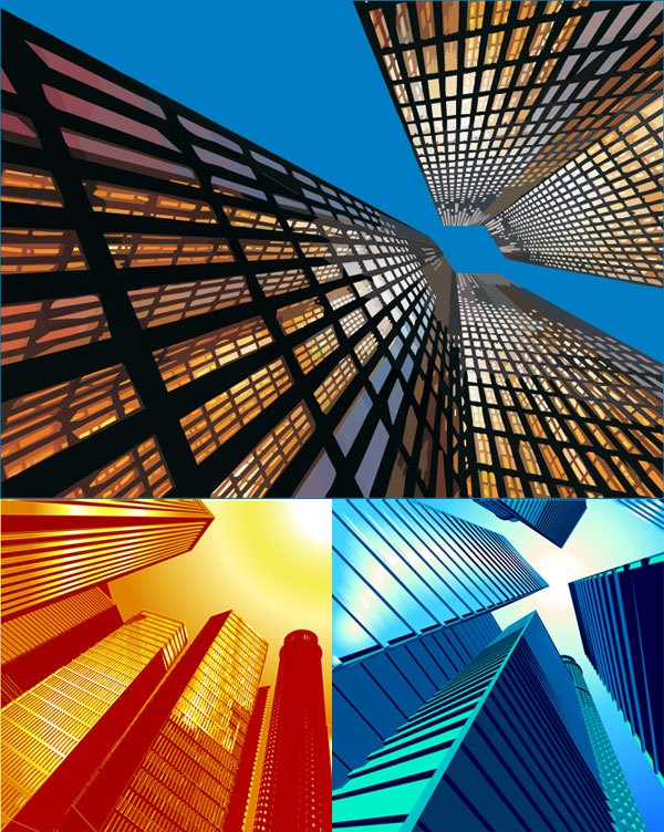 Look up high-rise buildings Vector material