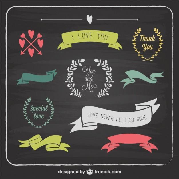 Love graphic elements blackboard template