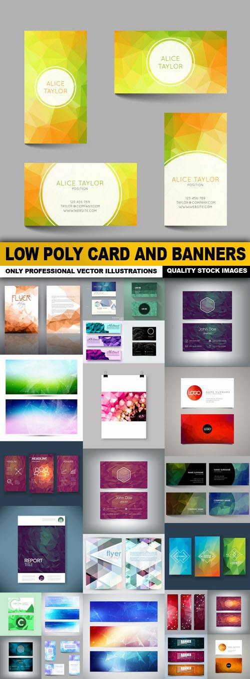 Low Poly Card And Banners – 25 Vector