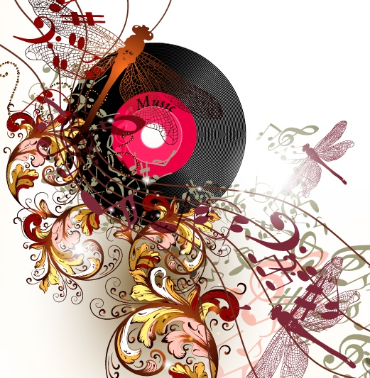LP with music vector background 01
