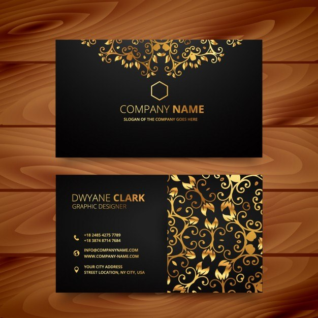 Luxury business card with golden ornaments  Vector | Free Download