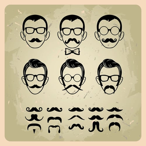 Man's Faces design vector 02