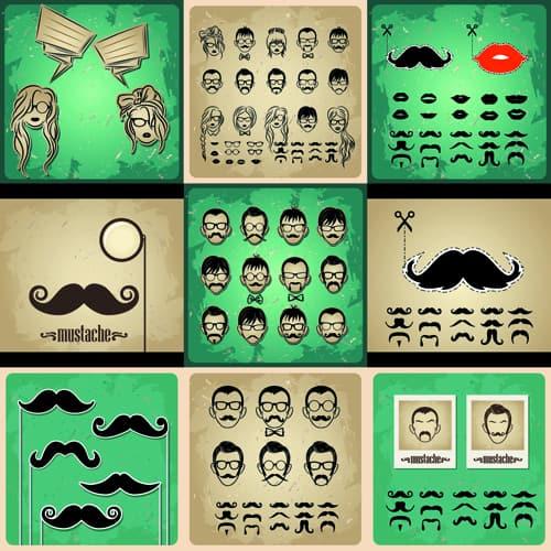 Man's Faces design vector 04