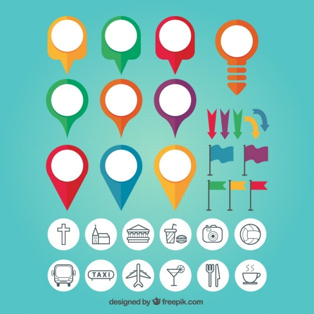 Map Pin Colourful Set  Vector | Free Download