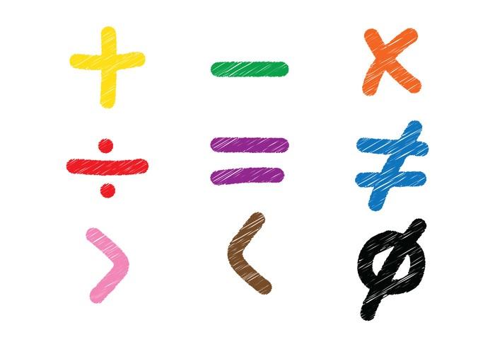 Math Symbol Sketch Vectors