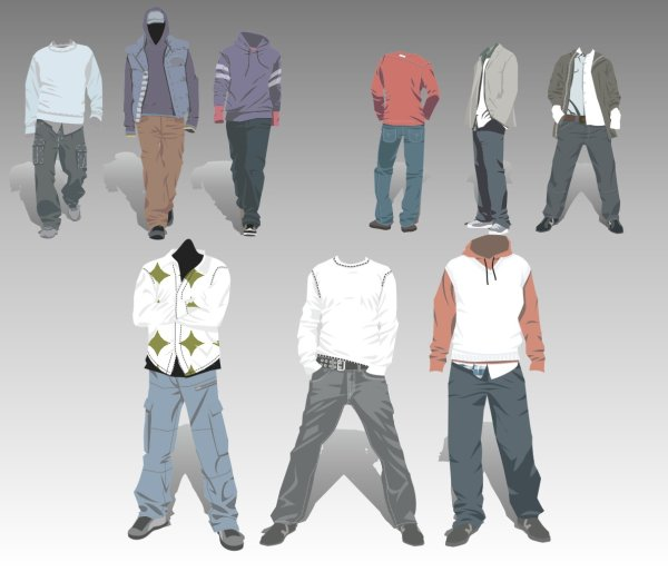 Men's Clothing design elements vector set