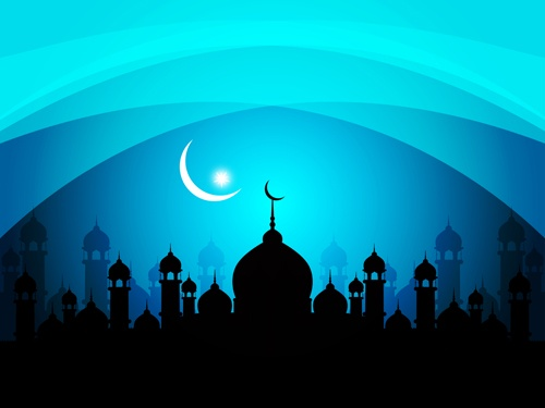Mosque with Night vector backgrounds 03