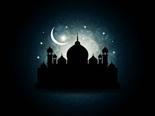 Mosque with Night vector backgrounds 02