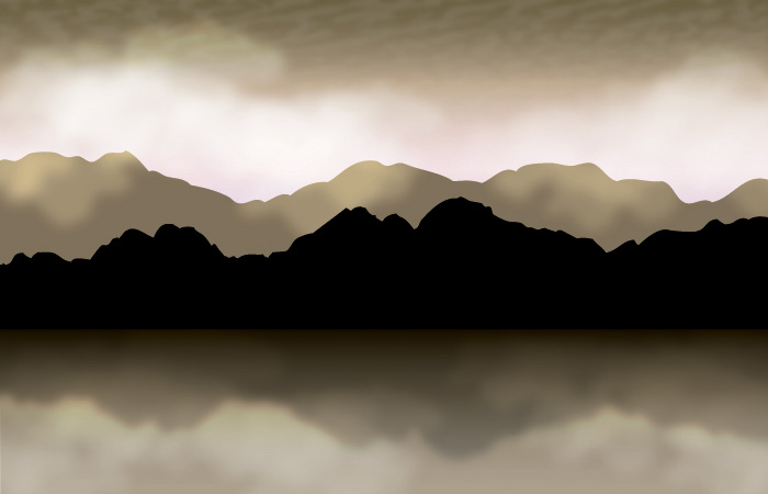 Mountains with clouds fog vector background
