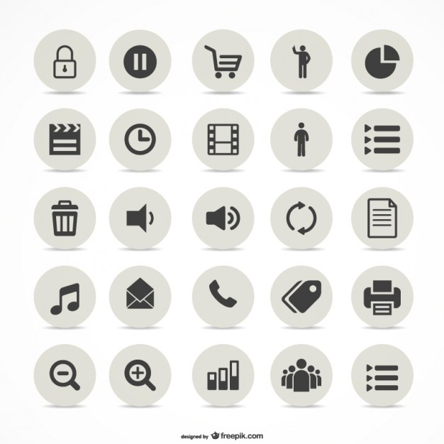 Multimedia simple icons set   Vector | Free Download