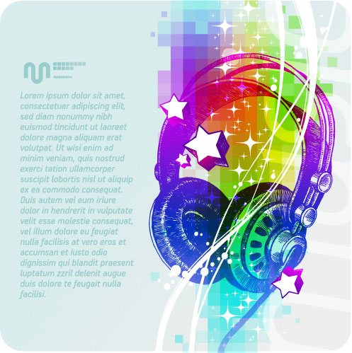 Music & mike Stylish vector background 07
