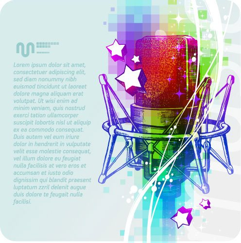 Music & mike Stylish vector background 08