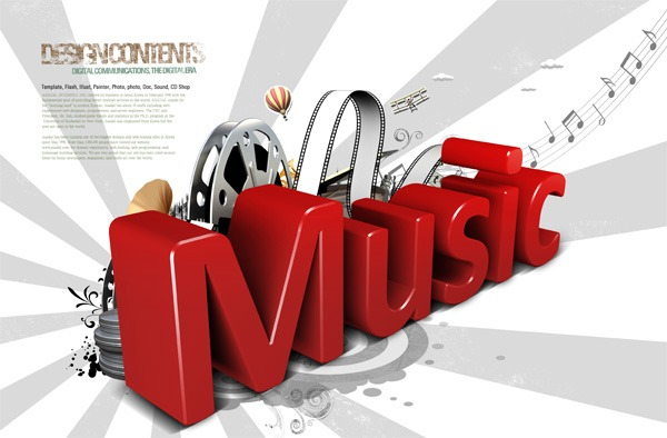 Music and Movies poster psd