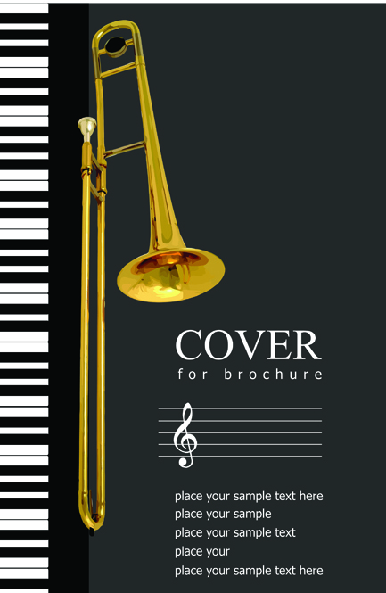 Music brochure Cover vector background 07