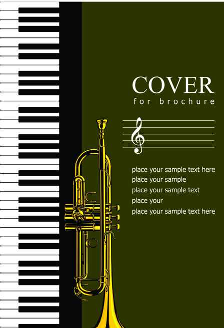 Music brochure Cover vector background 04