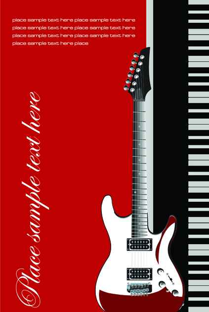 Music brochure Cover vector background 01