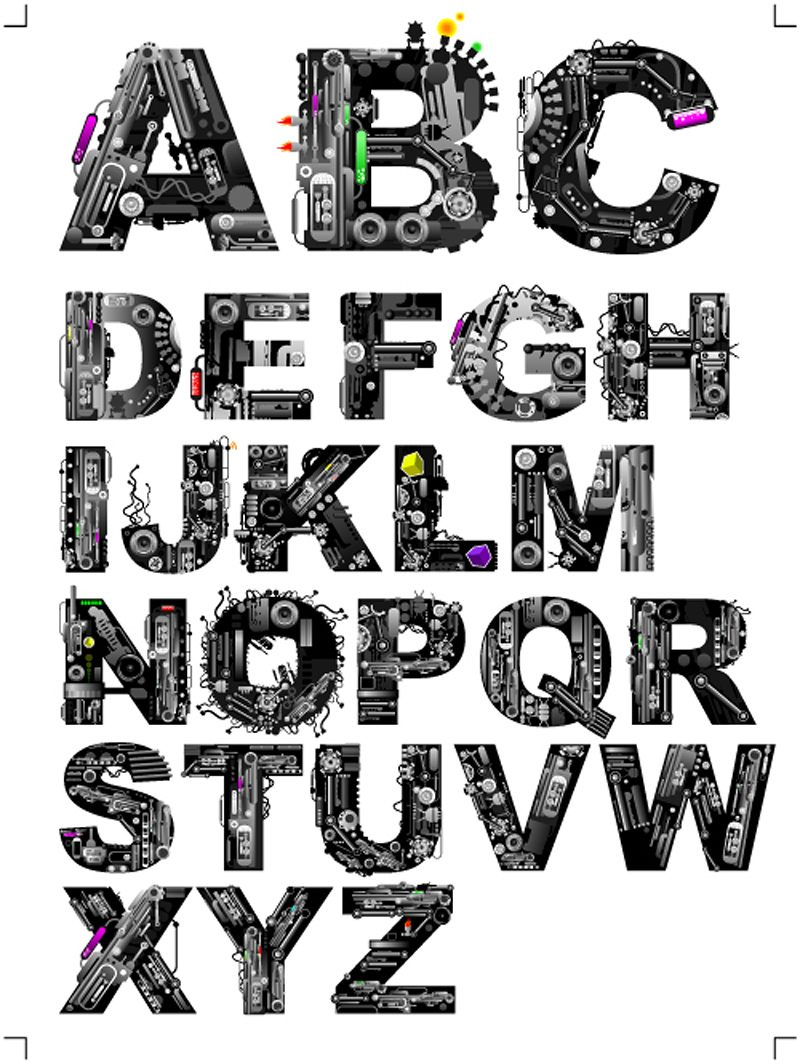 Music elements alphabet vector