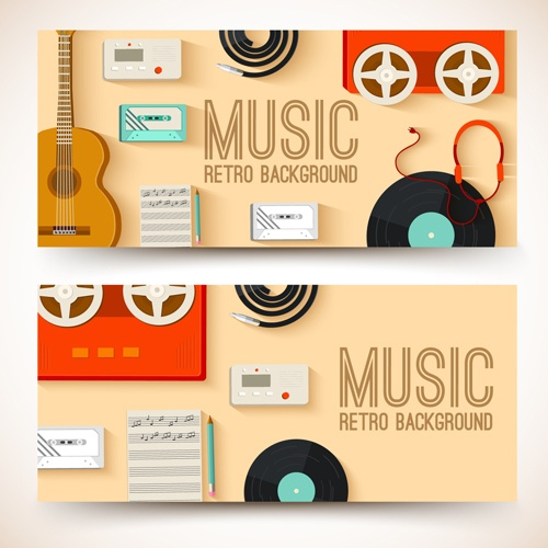 Music Instruments vector banner graphics 04