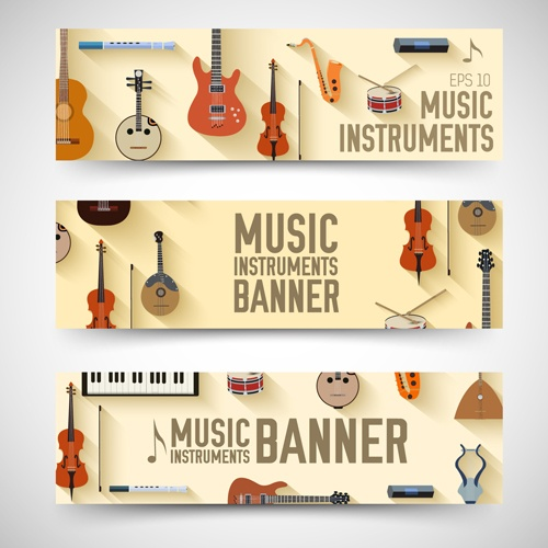 Music Instruments vector banner graphics 03