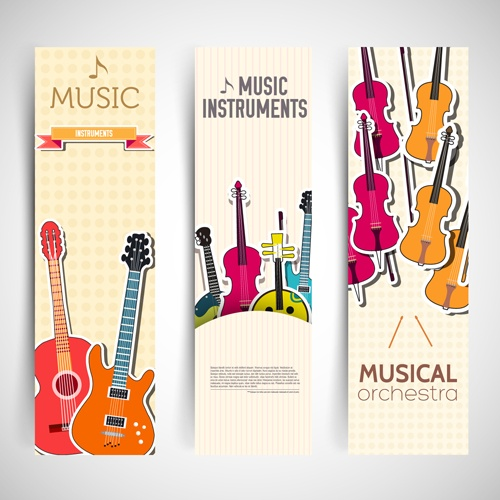 Music Instruments vector banner graphics 02