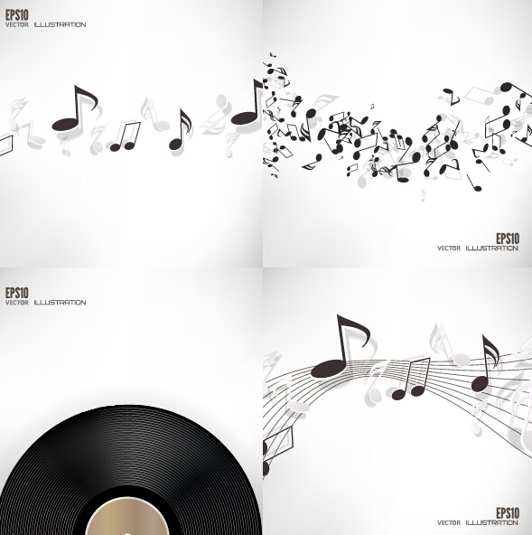 Music note and disc vector background 01