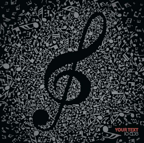 Music Note with black background vector