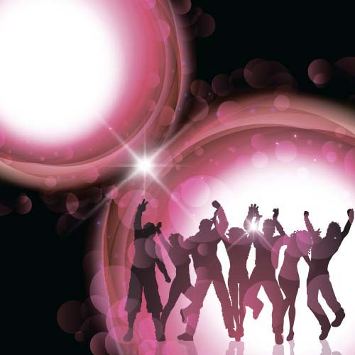 Music party backgrounds with people silhouettes vectors 09