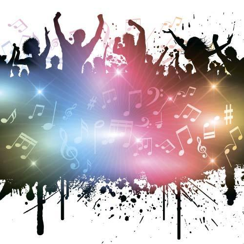 Music party backgrounds with people silhouettes vectors 07