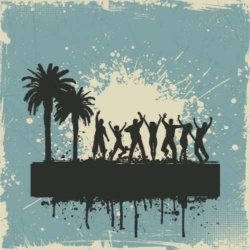 Music party backgrounds with people silhouettes vectors 03