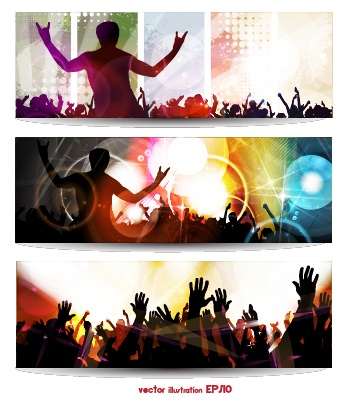 Music party creative banner vector graphics 05