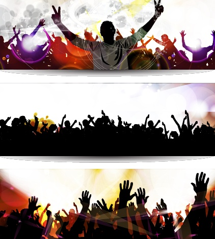 Music party creative banner vector graphics 02