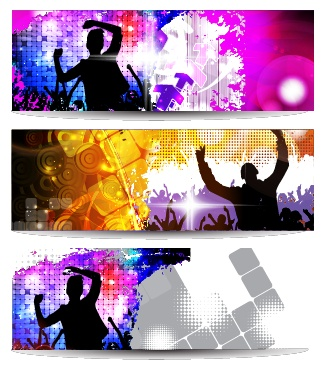 Music party creative banner vector graphics 01